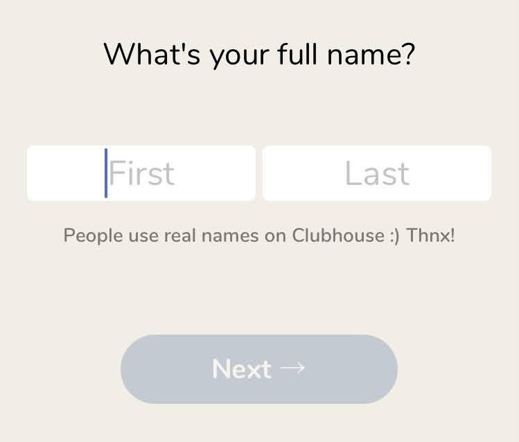 clubhouseの登録方法・氏名登録